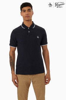 Original Penguin® Blue Short Sleeve Sticker Pete Pique Polo