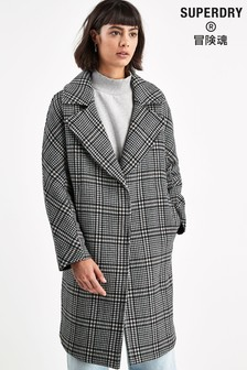 Superdry Black Check Wool Mix Coat