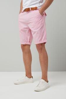 Ticking Stripe Belted Shorts