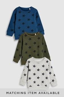 Lot de trois hauts à motifs étoiles et à col ras du cou (3 mois - 6 ans)