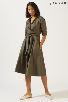 Jigsaw Green Poplin Wrap Tie Dress