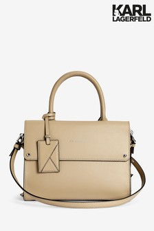 Karl Lagerfeld Taupe Icon Mini Top Handle Bag