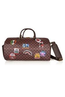 Sprayground Brown Travel Patches Duffle Bag