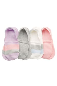 Colourblock Invisible Trainer Socks Four Pack