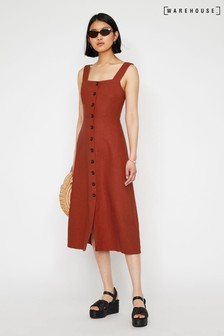 Warehouse Linen Button Front Midi Dress