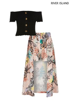 River Island Bardot Top And Floral Print Wide Leg Trouser