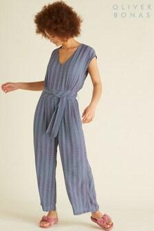 Oliver Bonas Blue Explore Print Jumpsuit