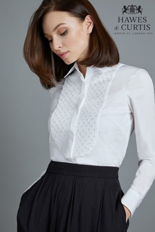 Hawes & Curtis White Boutique Blouse With Pearl Smock Front