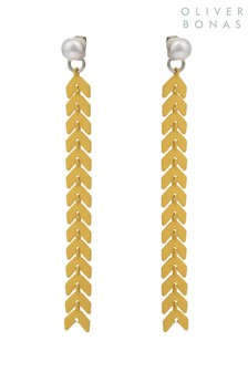 Oliver Bonas Yellow Chain Front To Back Earrings