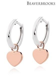 Beaverbrooks Silver Heart Charm Hoop Earrings