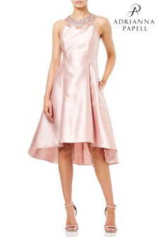 Adrianna Papell Pink  Mikado Fit And Flare Party Dress