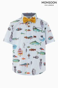 Monsoon White Jack Fish Print Shirt And Bow Tie