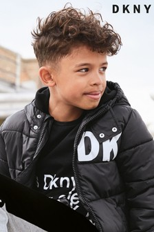 DKNY T-Shirt mit weißer Aufschrift, schwarz