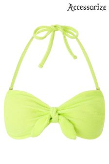 Accessorize Lime Green 80's Textured Bandeau Bikini Top