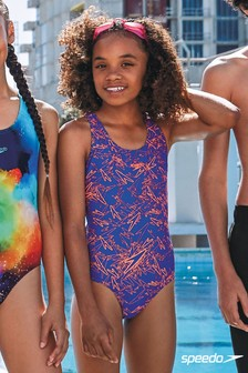 Speedo® Boom Badeanzug mit Allover-Print, blau/orange