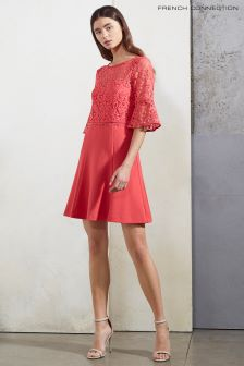 French Connection Azelea Pink Whisper Ruth Lace Mix Fit Dress