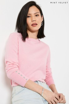Mint Velvet Pink Crew Neck Button Jumper