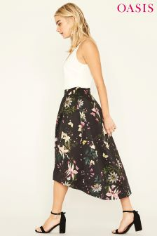 Oasis Black Secret Garden Full Midi Skirt