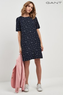GANT Navy Microflower Printed Dress