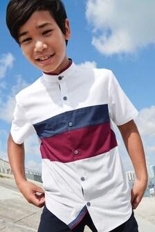 Short Sleeve Colourblock Fin Collar Shirt (3-16yrs)
