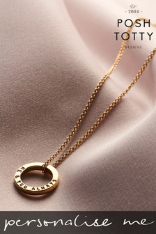 Personalised Mini Circle 18ct Yellow Gold Necklace by Posh Totty Designs