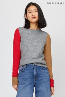 Warehouse Grey Soft Colourblock Jumper