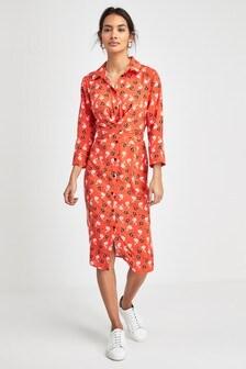 Hemdkleid mit floralem Muster und gewickelter Vorderpartie