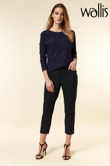 Wallis Blue Cotton Crop Trouser