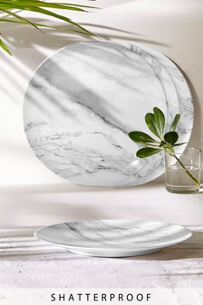 Set of 4 Marble Print Melamine Dinner Plates