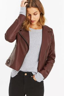 Oasis Burgundy Faux Leather Biker Jacket