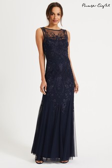 Phase Eight Blue Cecilia Embroidered Maxi Dress