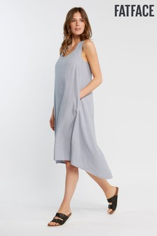 FatFace Blue Lola Linen Blend Dress