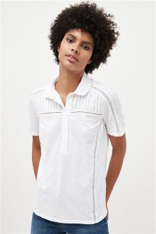 Lace Insert Button Front Shirt