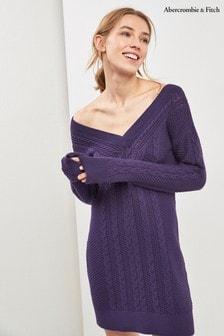 שמלת סריג בדוגמת צמות של Abercrombie & Fitch בצבע סגול