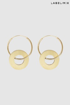 Mix/Wolf & Moon Disc Charm Hoop Earrings