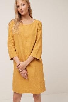 Платье с длинными рукавами из ткани на основе льна