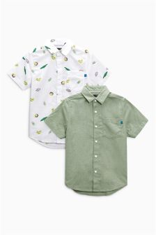 Fun Print And Khaki Plain Short Sleeve Shirts Two Pack (3-16yrs)