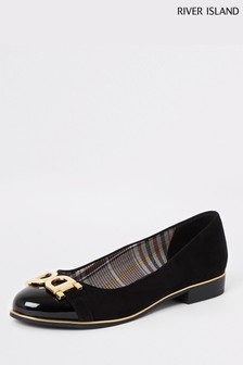 River Island Black Hardware Ballet Shoe