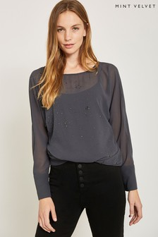 Mint Velvet Grey Embellished Top