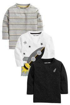 3 Pack Long Sleeve Rocket T-Shirts (3mths-7yrs)