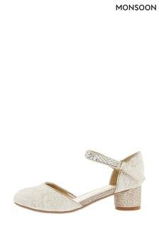 Monsoon Cream Metallic Jacquard Jazz Heel Sandals