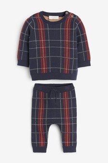 Knitted Check Jumper And Leggings Set (0mths-2yrs)