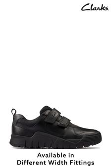 Clarks Black Leather ScooterSpeed T Shoes