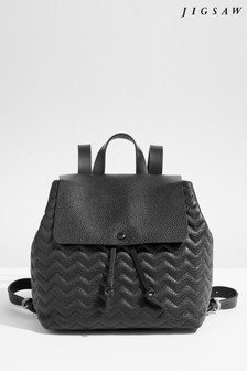 Jigsaw Black Blake Quilted Leather Backpack
