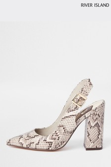 River Island Snake Print Sling Back Court Shoe
