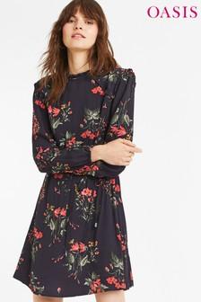 Oasis Autumn Garden blauwe halflange jurk
