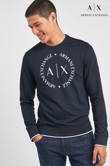 Armani Exchange Navy AX Logo Sweat