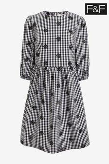 F&F Multi Black/White Gingham Embroidery Dress