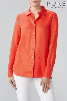 Pure Collection Orange Linen Shirt