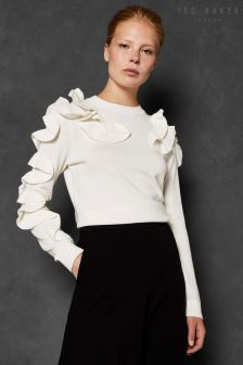 Ted Baker Ivory Frill Knit Top